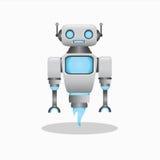 凉快和逗人喜爱的3d机器人例证 库存图片