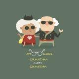 凉快的佩带在皮夹克的祖母和祖父 免版税库存照片
