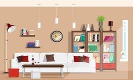 凉快的图表与家具的客厅室内设计:沙发,椅子,书橱,桌,灯 平的样式 库存图片