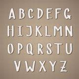 凉快的手拉的轻的米黄字母表标志`在葡萄酒样式设置了 免版税图库摄影