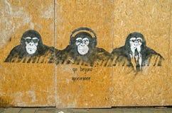 凉快的明智的猴子街道画,威尼斯 图库摄影