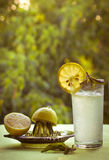 凉快的柠檬水和柠檬在绿色背景的夏天 免版税库存图片