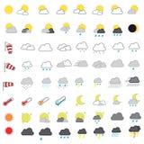 凉快的看的天气预报传染媒介象集合 免版税库存照片