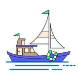 凉快的线艺术平的设计小船网象 装饰图表 库存图片