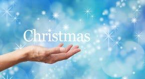 凉快的蓝色闪耀的圣诞节背景 免版税库存照片