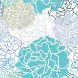 凉快的颜色Botan花卉无缝的样式传染媒介设计 免版税库存照片