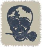 凉快的头骨纹身花刺当蓝色牛仔裤元素 头骨与在嘴上升了 传染媒介补丁,片段 免版税库存照片