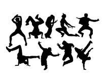 凉快的Hip Hop跳舞剪影,艺术传染媒介设计 向量例证