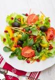 凉拌生菜用在白色板材的蕃茄在木桌上 免版税库存图片