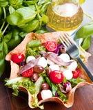 凉拌生菜用无盐干酪和鲥鱼在面包篮子 免版税库存图片