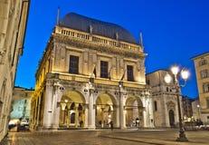 凉廊正方形,布雷西亚,意大利 库存照片