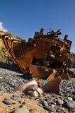 凋枯和一半埋没了一条被击毁的推者小船的推进器 免版税库存照片
