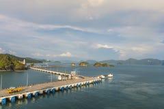 凌家卫岛和它的群岛马来西亚口岸的全景  库存图片