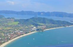 凌家卫岛海岛马来西亚鸟瞰图  免版税库存照片