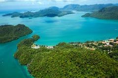 凌家卫岛海岛,马来西亚空中照片  免版税库存照片
