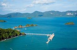 凌家卫岛海岛,马来西亚空中照片  免版税库存图片