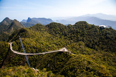 凌家卫岛从更高的有利位置的天空桥梁看法  免版税库存图片