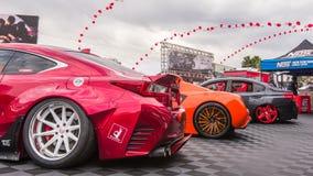 凌志RC 350体育和两辆条频器汽车,专业设备Marke 库存图片
