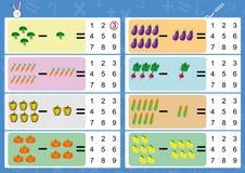 减去使用图片,孩子的算术活页练习题 库存图片