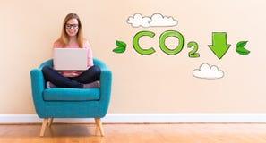 减少与使用她的膝上型计算机的少妇的二氧化碳 免版税库存照片