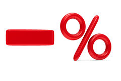 减少在白色背景的百分之 免版税图库摄影