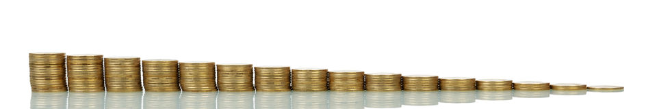减少的或增长的硬币堆 库存图片