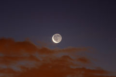 减少的新月形月亮使用与云彩在黎明 库存图片