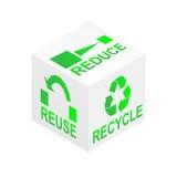 减少重新使用回收多维数据集 免版税库存图片