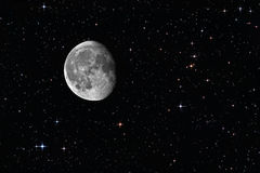 减少隆起的月亮的星形 免版税库存图片