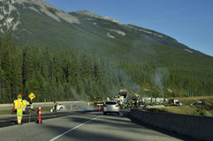 减慢,在Trans加拿大高速公路 免版税图库摄影