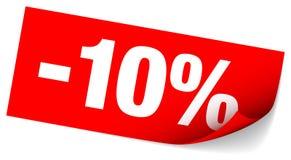 减百分之十的红色稠粘的笔记销售 向量例证