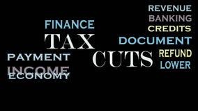 减税生气蓬勃的词云彩,文本动画 财务企业的概念 库存例证