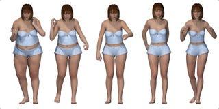 减肥在内衣的肥胖女孩序列 免版税库存照片