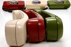 减速火箭五颜六色的电话 免版税库存照片