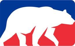 减速火箭北美灰熊走的剪影的长方形 库存例证