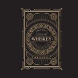 减速火箭古色古香的框架葡萄酒边界威士忌酒的标签 库存例证