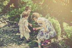 减速火箭复活节彩蛋的狩猎的孩子- 免版税库存照片