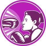 减速火箭女性拳击手的拳打 免版税图库摄影