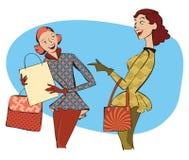 减速火箭妇女购物 免版税图库摄影