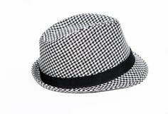 减速火箭方格的浅顶软呢帽的帽子 免版税库存照片