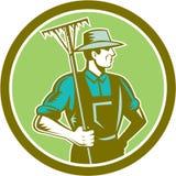 减速火箭有机农夫犁耙的木刻 免版税库存照片