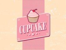 减速火箭杯形蛋糕的设计 免版税库存照片