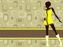 减速火箭横幅女孩绿色水平的mod的橄榄 库存例证