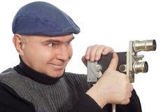 减速火箭照相机的电影摄影师 库存图片