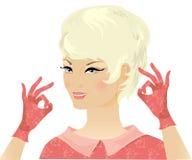 减速火箭白肤金发的夫人 免版税库存照片