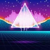 减速火箭的与发光的音乐波浪的赌博霓虹背景 库存例证