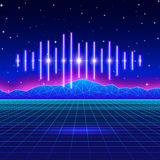 减速火箭的与发光的音乐波浪的赌博霓虹背景 库存图片