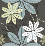 减速火箭的与时髦颜色的样式花卉无缝的样式 皇族释放例证