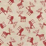 减速火箭的与滑稽的鹿的圣诞节无缝的样式 免版税库存图片