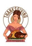 减速火箭的主妇在厨房里烹调烤火鸡 传染媒介在白色隔绝的彩色插图 库存例证